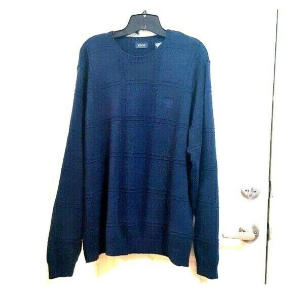 Izod Other - IZOD Large Navy Blue Cotton Plaid Textured Sweater
